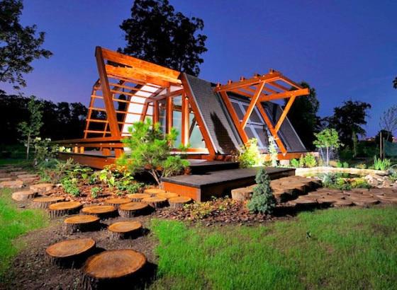 Dise o de casa peque a de madera autosustentable - Casa pequena de madera ...