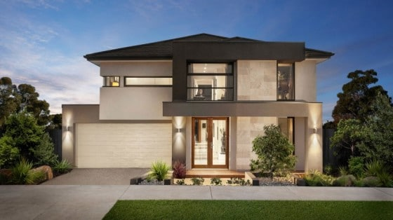 Moderna fachada de dos pisos