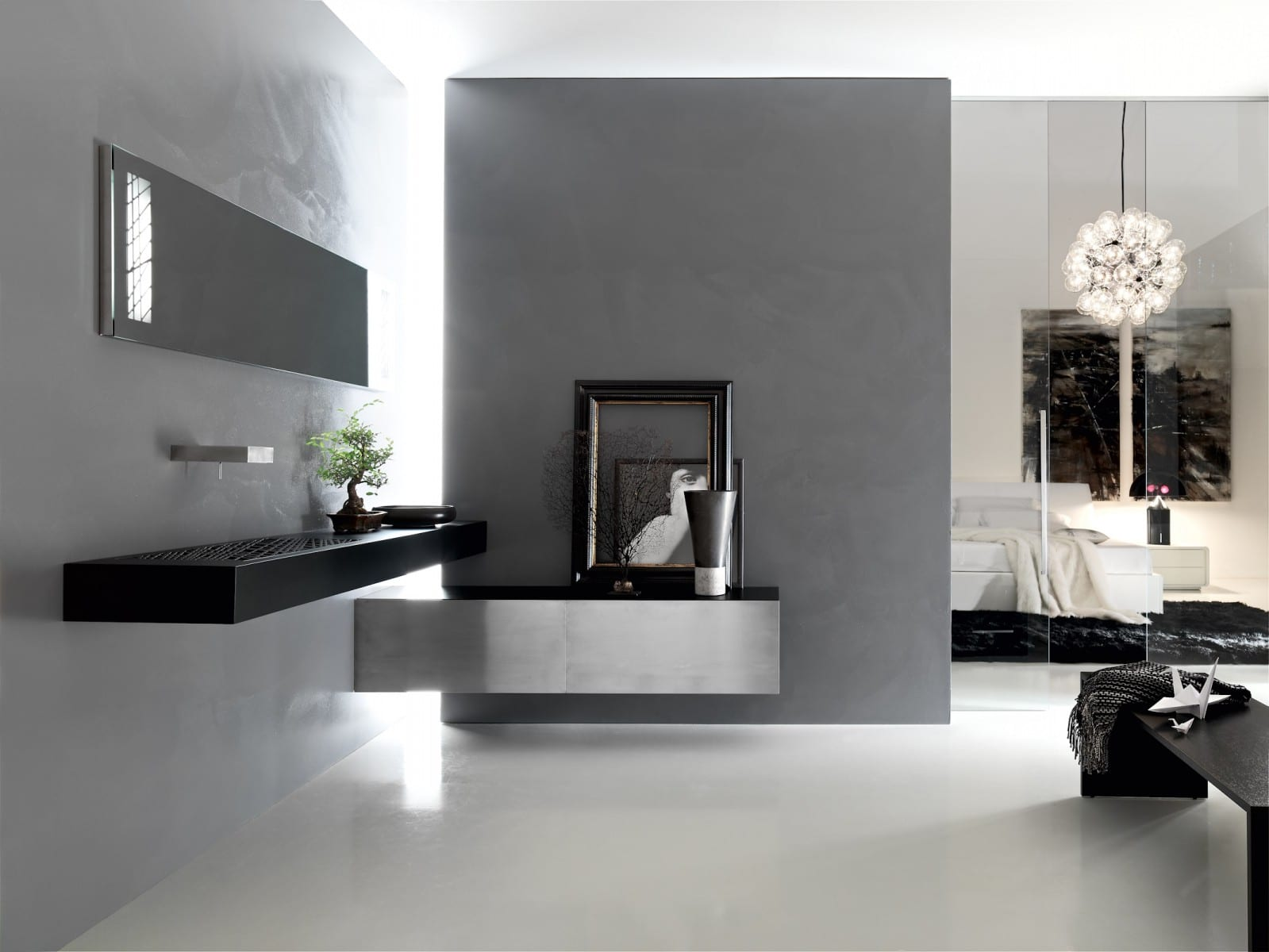 Dise o de cuartos de ba o modernos fotos construye hogar for Cuarto negro con gris