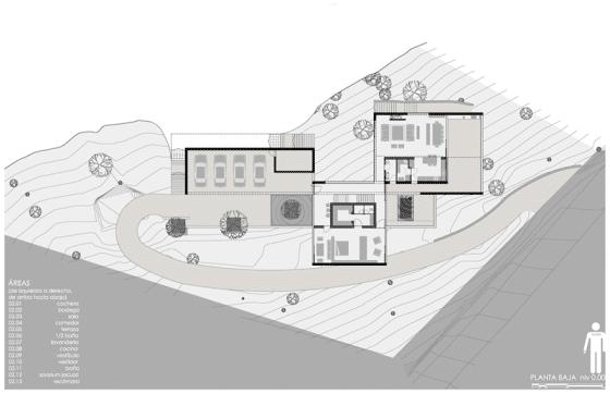 Plano de primer piso de la  casa moderna