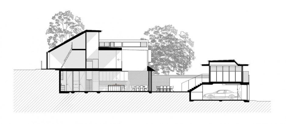 Dise o de casa moderna de dos pisos en terreno largo for Diseno de interiores nota de corte