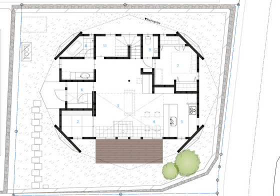 Plano de primer piso de casa origami