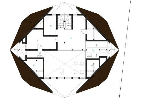 Plano de segundo piso de casa origami