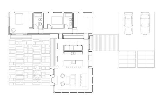 Planos de casa en forma de L con estacionamiento exterior