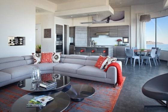 Sala cocina de casa ecológica