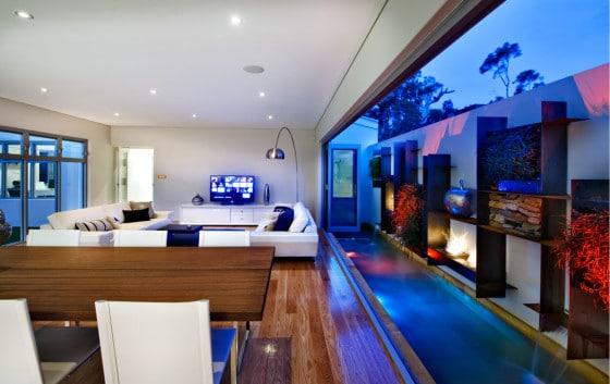 Sala terraza de casa dos niveles