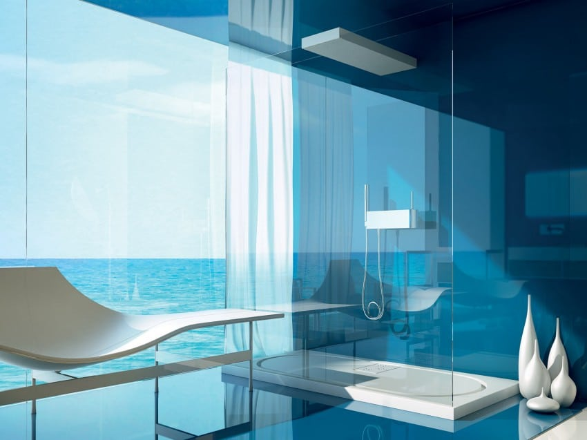 Decoraci n de cuartos de ba o modernos dise os exclusivos - Azulejos azules para bano ...
