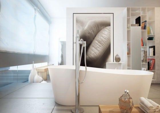 Decoración de baño con cuadro sugestivo