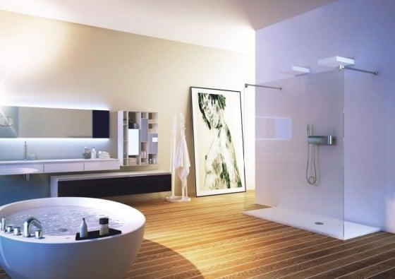 Decoración d baños moderno amplio con tina y ducha