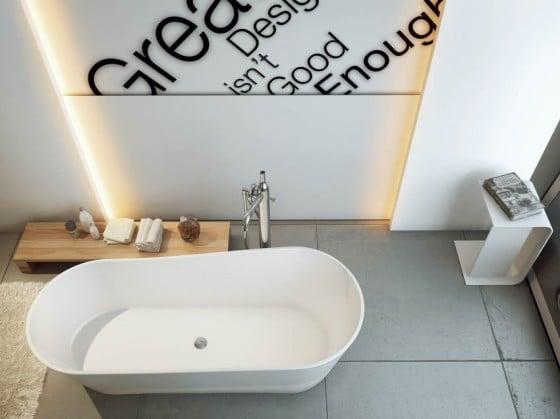 Decoración de cuarto de baño con gráficos en paredes