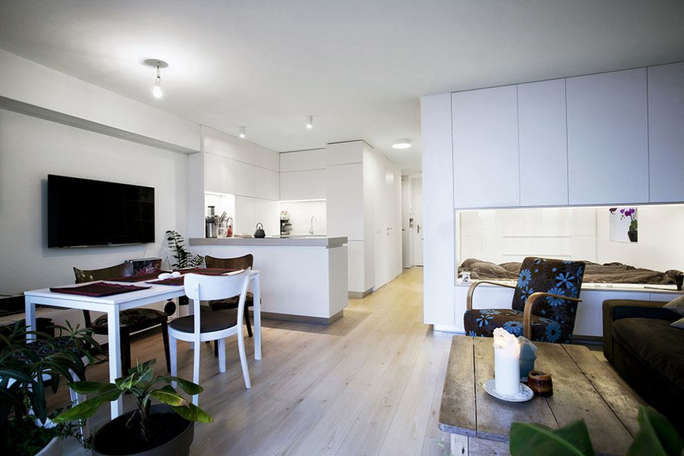 Dise o de plano de apartamento peque o de un dormitorio for Decoracion piso jovenes