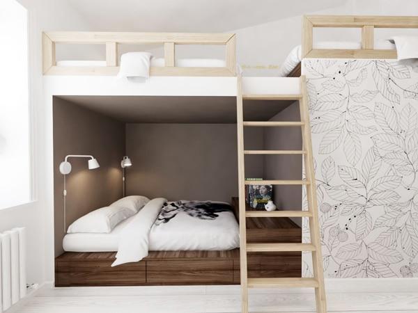 Decoraci n de interiores juveniles ideas de dise o - Habitaciones con tres camas ...