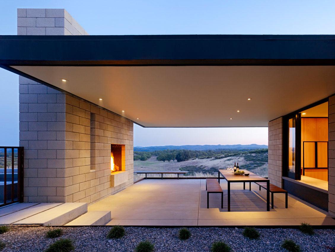 Dise o de casa moderna de un piso de ladrillo caravista for Casa moderna un piso