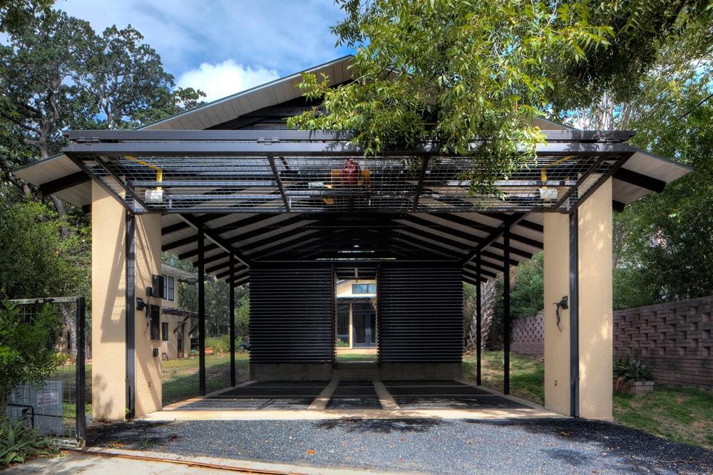 Dise o de garage cochera en exteriores de casa for Garajes modelos