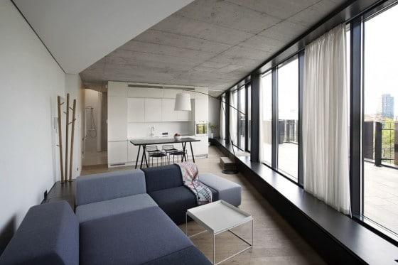 Diseño de sala comedor  y cocina de forma triangular