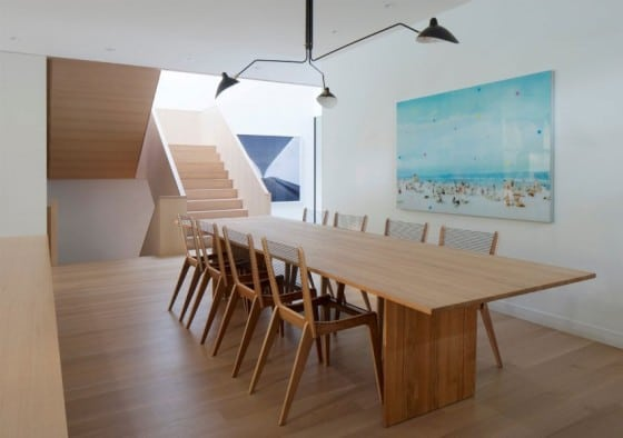 Diseño de comedor de madera moderno