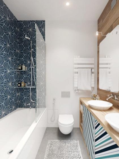 Diseño de cuarto de baño aspecto juvenil