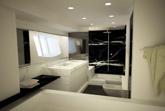 Diseño de cuarto de baño color blanco en un barco