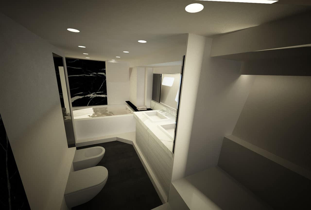 Dise o de planos de distribuci n de un moderno barco for Bano con jacuzzi y ducha planos