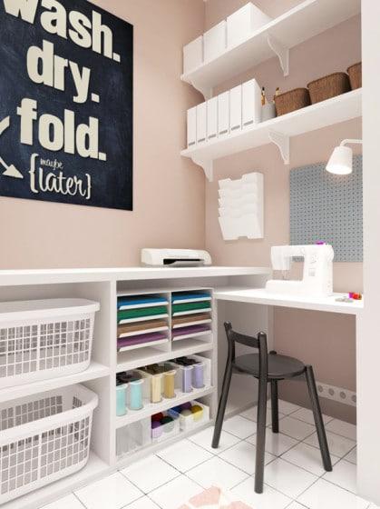 Diseño de cuarto de lavado y planchado de la casa