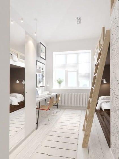Diseño de dormitorio pequeño con camarote y estudio