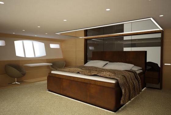 Decoración de interiores  de dormitorio en barco