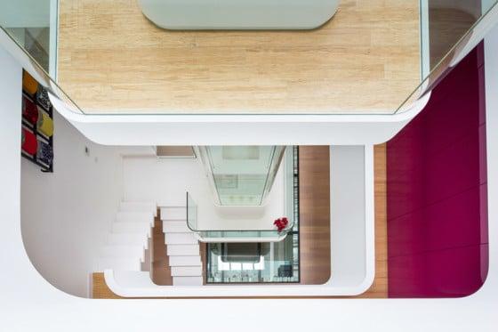 Vista superiro del diseño de escaleras