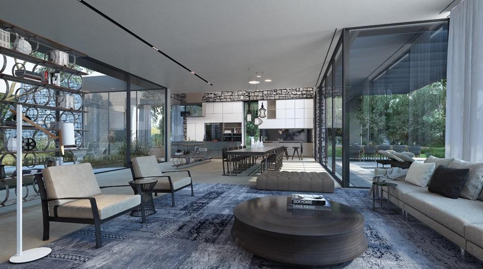 Fachada de casa moderna de un piso incluye dise o for Studio 84 diseno de interiores