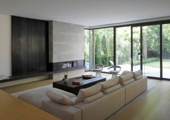 Diseño de interiores de sala moderna con chimenea