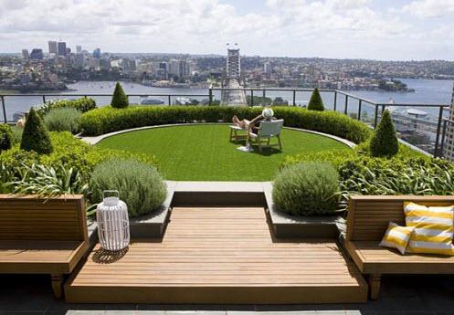 Diseño de jardín en el techo