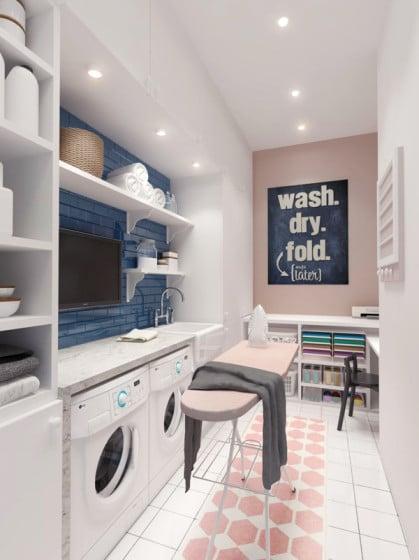 Diseño de lavandería pequeña y moderna para la casa