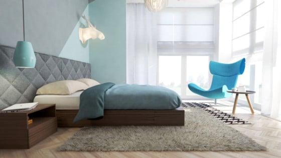 Diseño de moderno dormitorio juvenil con decoración moderna