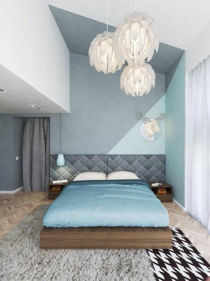 Diseño de moderno dormitorio de aspecto  juvenil con colores pastel