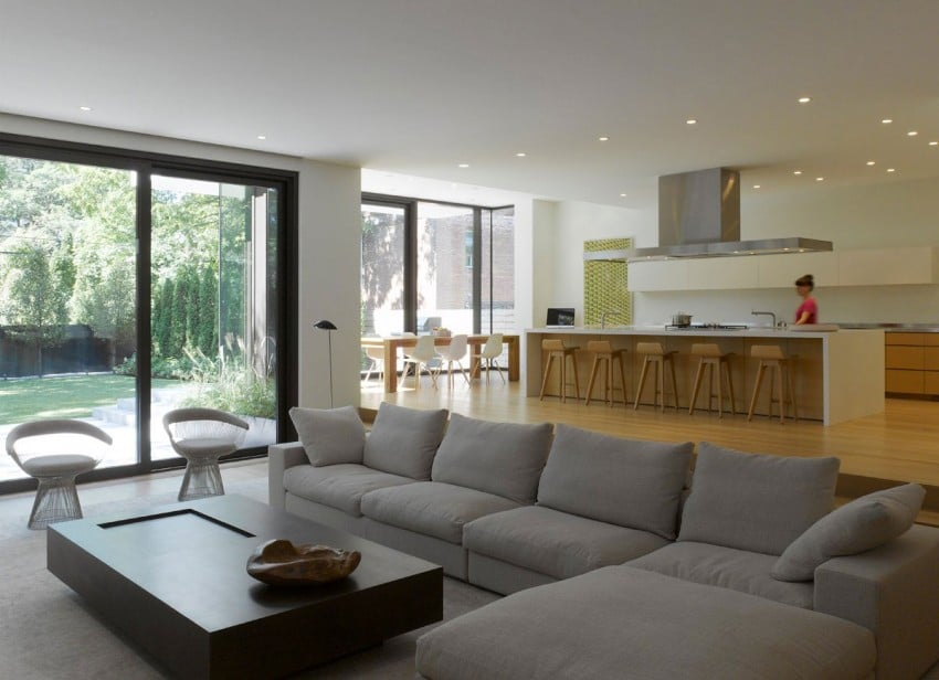 Dise o de casa moderna de dos pisos fachada e interiores for Sala comedor pequenas modernas