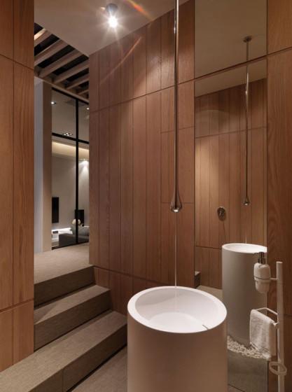 Diseño original de cuarto de baño de madera