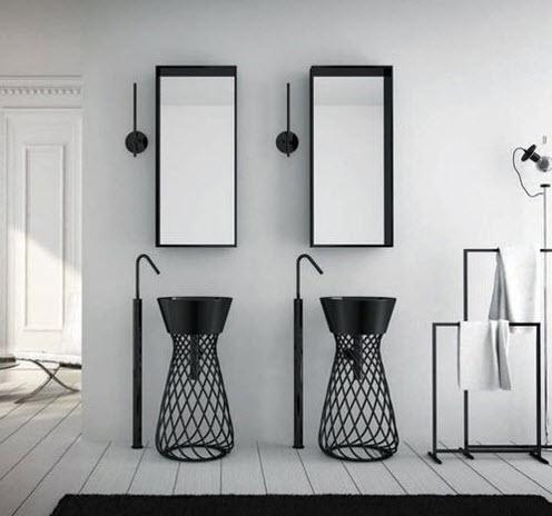 Diseño original de cuarto de baño con lavatorios de hierro