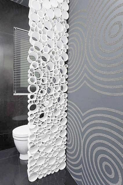 Dise os de cuartos de ba o originales con creativos for Forrar paredes barato