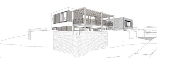 Plano de fachada de casa de dos pisos
