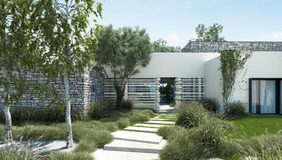 Fachada de moderna casa de un piso con cerco