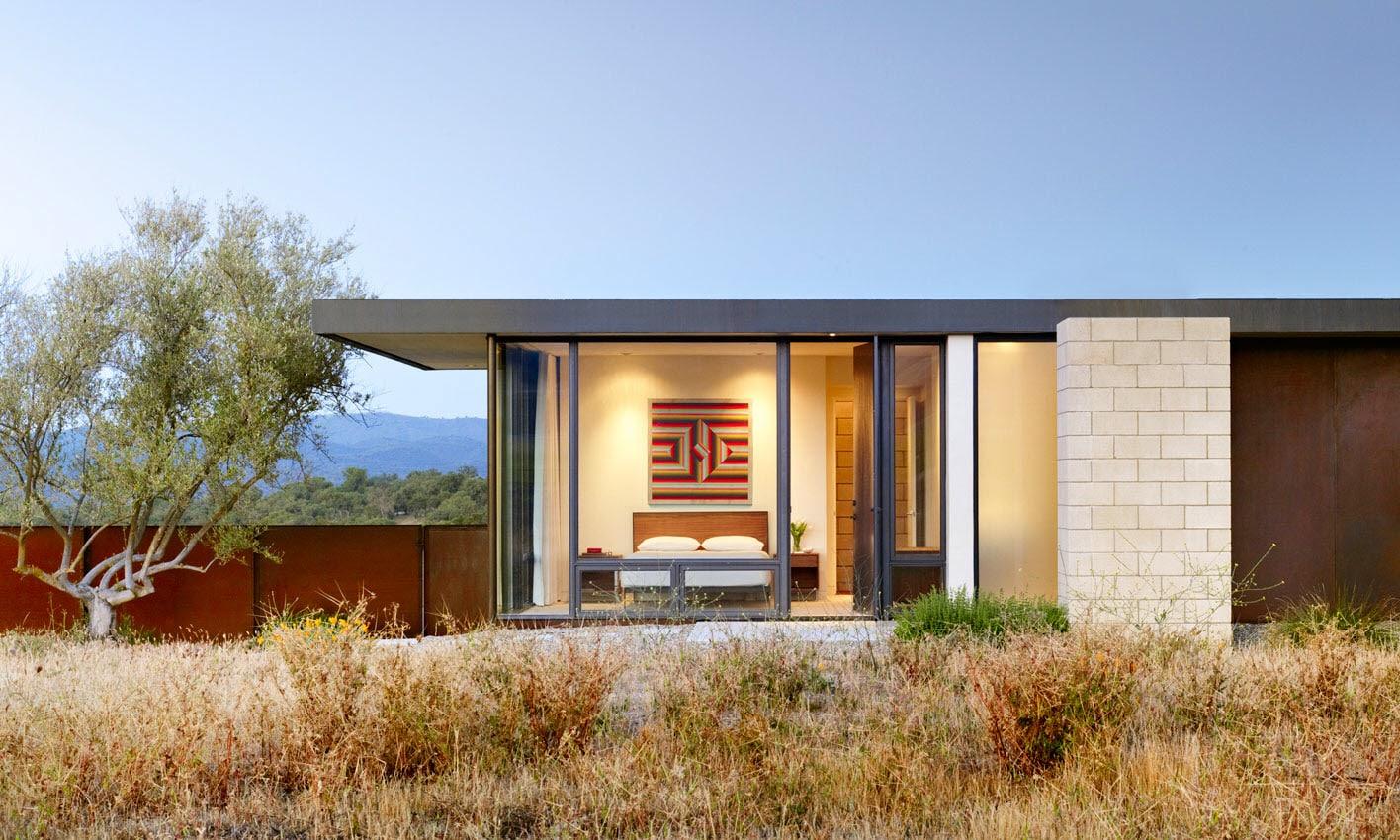 Dise o de casa moderna de un piso de ladrillo caravista for Casas modernas ladrillo