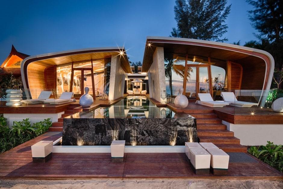 casa moderna de un piso con dise o de fachada ovalada. Black Bedroom Furniture Sets. Home Design Ideas