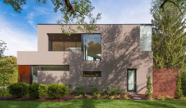 Planos de casa en terreno triangular fachada e interiores for Casa de diseno henry beltran