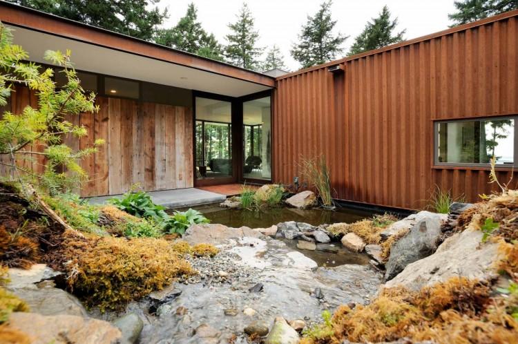 Dise o de casa de campo econ mica y moderna construcci n for Maison bois et verre