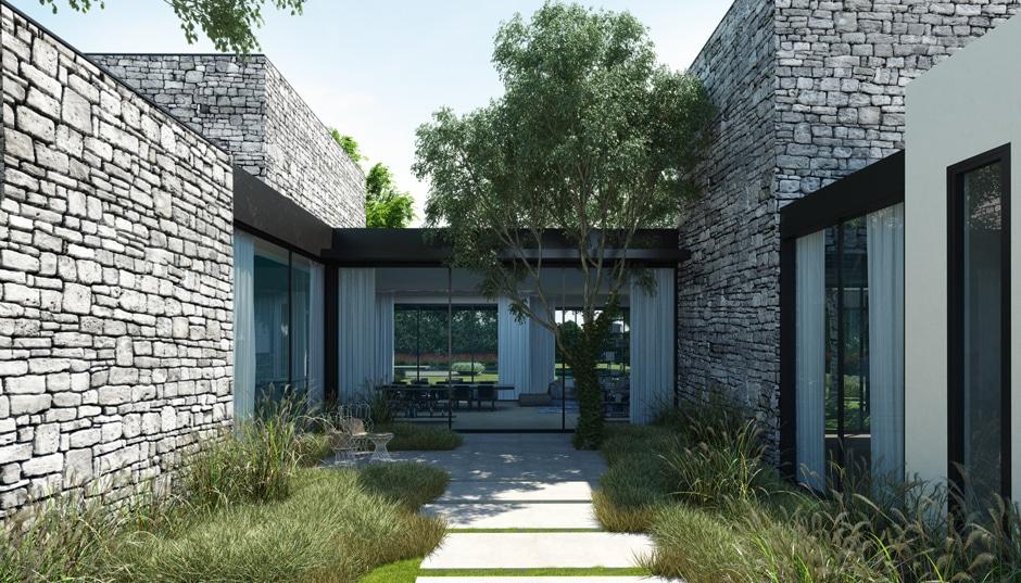 Fachada de casa moderna de un piso incluye dise o interior for Casas con piedras en la fachada