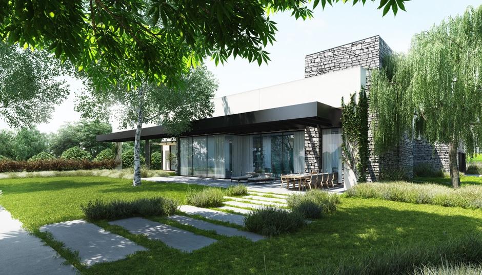 Fachada de casa moderna de un piso incluye dise o interior for Casas modernas fachadas de un piso