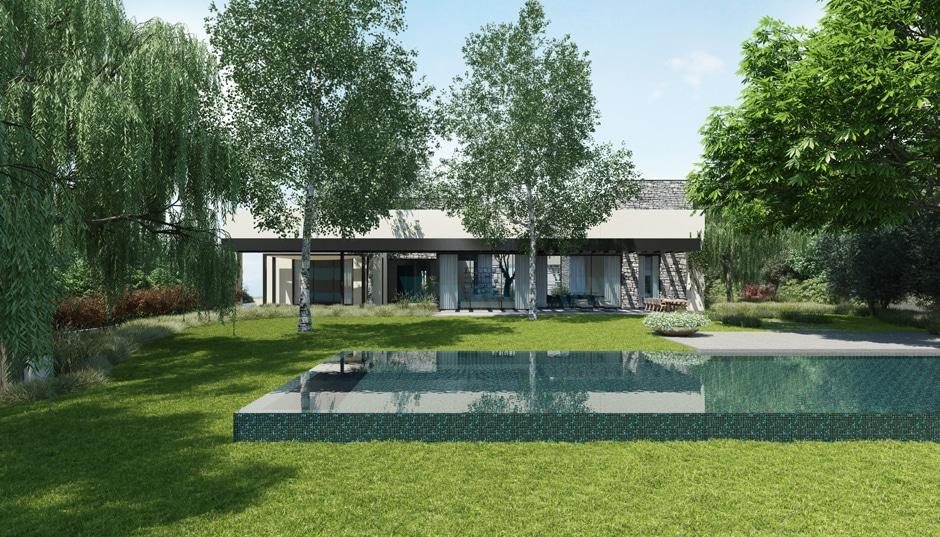 Fachada de casa moderna de un piso incluye dise o for Diseno de piscinas para casas de campo