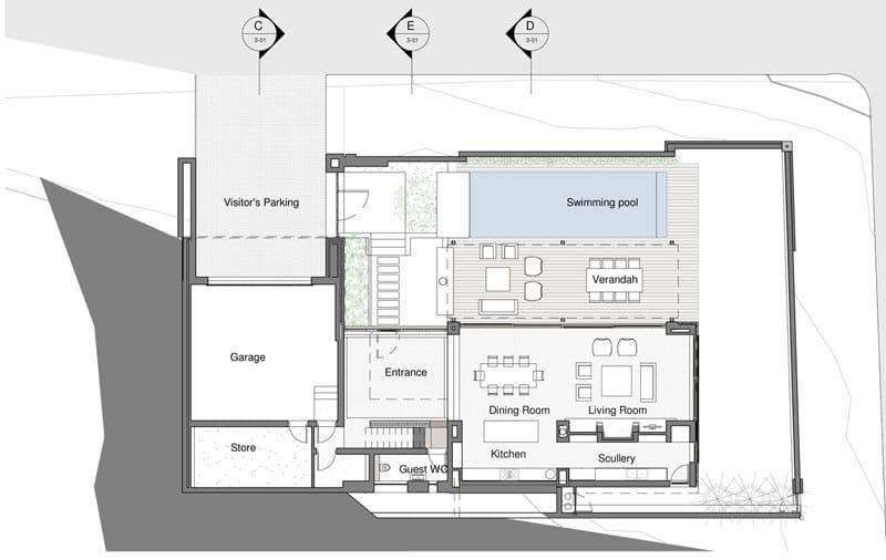 Planos de casa de dos pisos construida en terreno cuadrado for Planos planos de casas