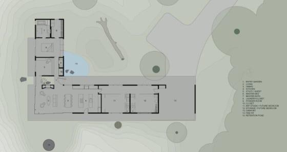 Plano de casa en forma de L ubicada en zona rural