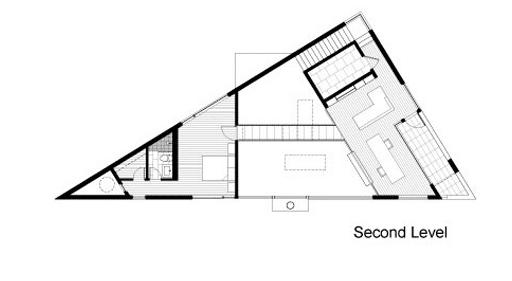 Plano de moderna casa en terreno triangular 2