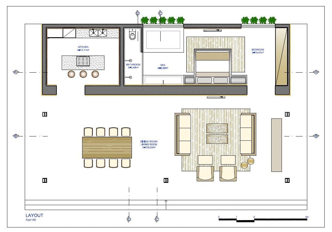 Planos de casa peque a de un dormitorio fachada e for Un plano de una casa